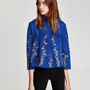 Zara Embroidered Faux Suede Top in Electric Blue