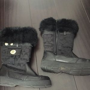 Coach black winter boots