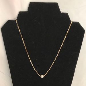 Dainty Gold Necklace with Single Pearl Pendant