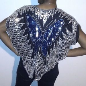 Tops - Sequin butterfly cape