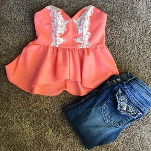 Coral crop top with lace