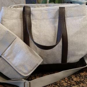 Pottery Barn Kids Classic Gray Tweed Diaper Bag