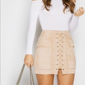 NEW Nude Pink Suede Tie Mini Skirt💞