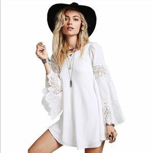 White Lace Boho Loose Stylish Dress❤
