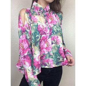 UNIF Floral Cold Shoulder Open Side Studded Blouse