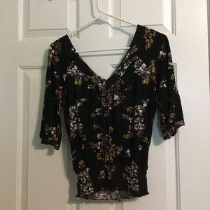 American Rag V-Neck Black Floral Top