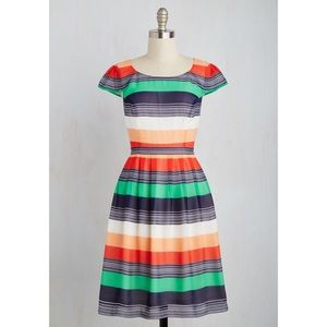 Modcloth Made for Each Color Dress Stripes, Size M