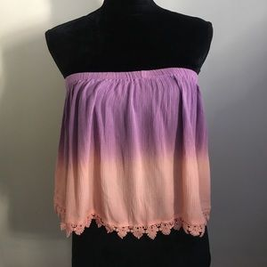 Strapless Purple & Pink Semi Crop Top