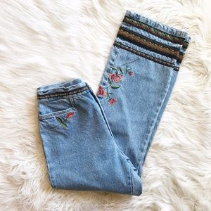 Vintage High Waist Embroidered Jeans