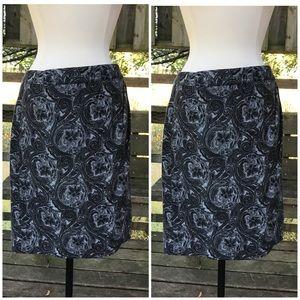 Talbots black gray paisley wool wrap skirt