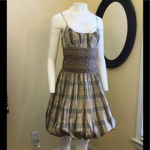 NICOLE MILLER Metallic Taffeta Plaid /Tartan Dress