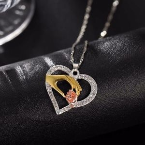 Jewelry - Tri-Color Crystal Mother & Child Love Necklace