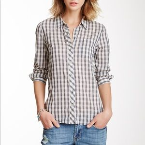 Lucky Brand Mixed Gingham Plaid Shirt 3/4 sleeves