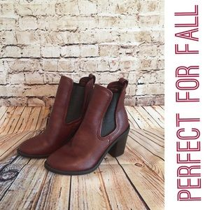 Merona Vegan Leather Maroon Booties