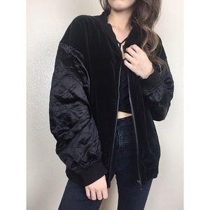 Vintage Grunge Black Velvet Quilted Bomber Jacket