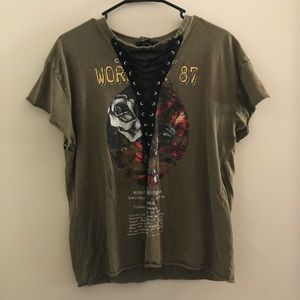 Lace Up Graphic Tee