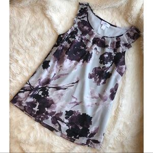 LOFT Purple Floral Watercolor Sleeveless Blouse