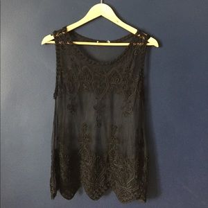 Tops - Silky Sheer Embroidered Shell