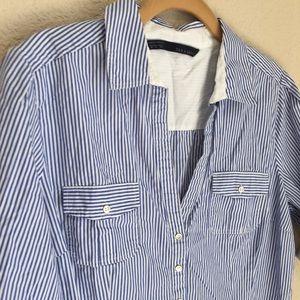Zara basic stripped button shirt