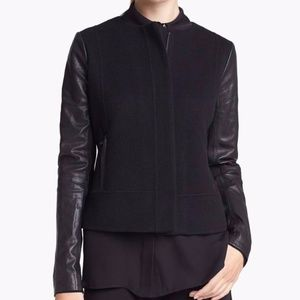 Vince Wool Jacket with Leather Sleeves