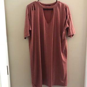 Rose Distressed T-Shirt Dress