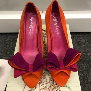 Jeffrey Campbell Garret Orange Combo Shoes Size 8