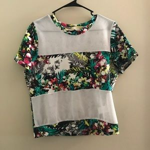 Tropical Printed/Mesh T-Shirt