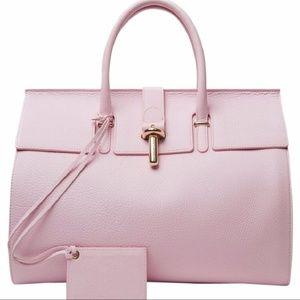 Balenciaga Tube-clasp Round Rose Pink Tote Bag
