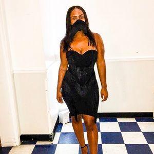 Nasty Gal Black Fringe Midi Dress