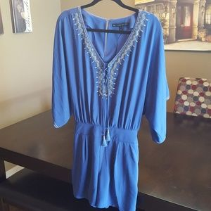 Blue Romper with Embroidered Detail