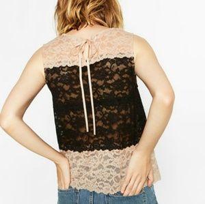 ZARA Two-Tone New Lace Blouse