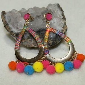 Jewelry - Gold Pom Pom Teardrop Earrings