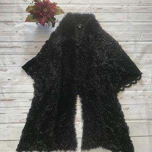Pretty Angel black fuzzy cardigan poncho