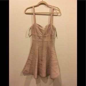 Herve Leger Full Skirt Cut Out Bandage Dress