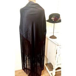 Amazing Huge Black Fringed Shawl Wrap