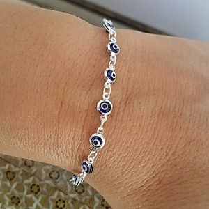 Jewelry - 14k Gold plated blue evil eye Silver bracelet