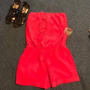 NWT Express Red Strapless Romper