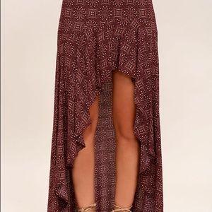 Lulus burgundy print high-low skirt small