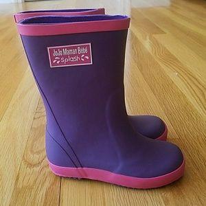 Jojo Maman Bebe Rain Boots Purple Toddler sz 7