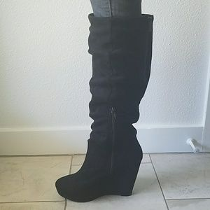 Shoes - Black wedge knee high boots