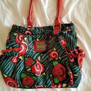 EUC, Turquoise Zebra Striped Betsey Bag