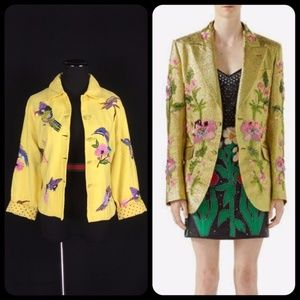 Vintage Gucci Style Embroidered Hummingbird Jacket