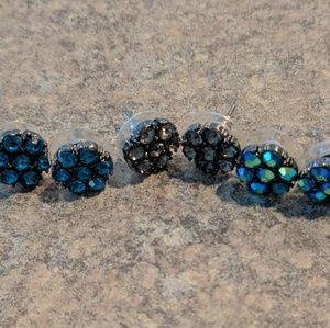 3 pairs flower stud earrings blue/grey/multicolor