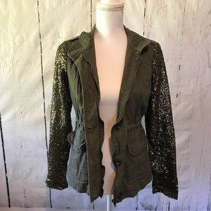 Sequin Sleeve Army Green Jacket