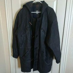 Greg Bell leather hooded coat