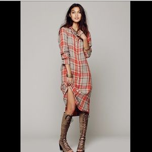 Free People X CP Shades Plaid Buttonfront Dress S