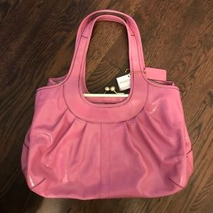 Coach patent leather pink pleated Ergo bag