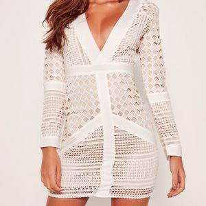 Misguided White Lace Plunge Bodycon Dress
