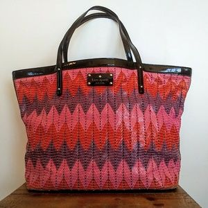 Kate Spade Stitched Leather Chevron Tote