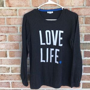 Love Life dark gray long sleeve sweater Size Large
